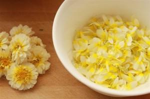 цветки хризантемы увенчанной в чашке