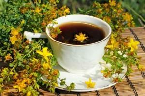 Цветы и настой зверобоя в чашке