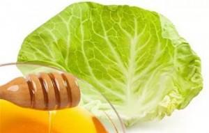 Лист капусты с медом при укусах насекомых